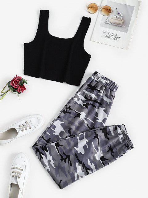 chic Two Piece Ribbed Camo Sweatpants Set - DARK GRAY M Mobile