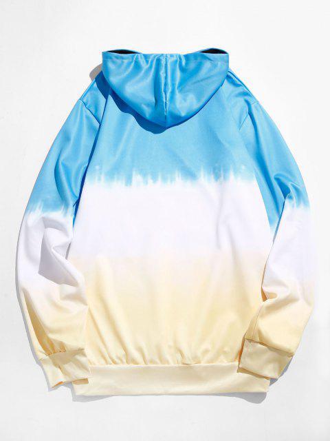 trendy Dip Dye Front Pocket Drawstring Hoodie - DEEP SKY BLUE M Mobile