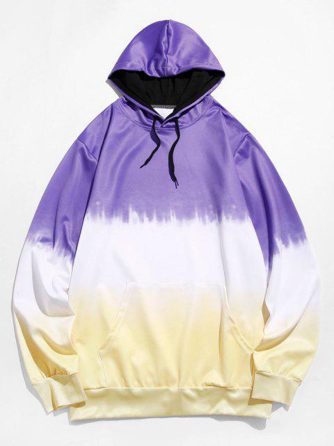 sale Dip Dye Front Pocket Drawstring Hoodie - PURPLE S Mobile