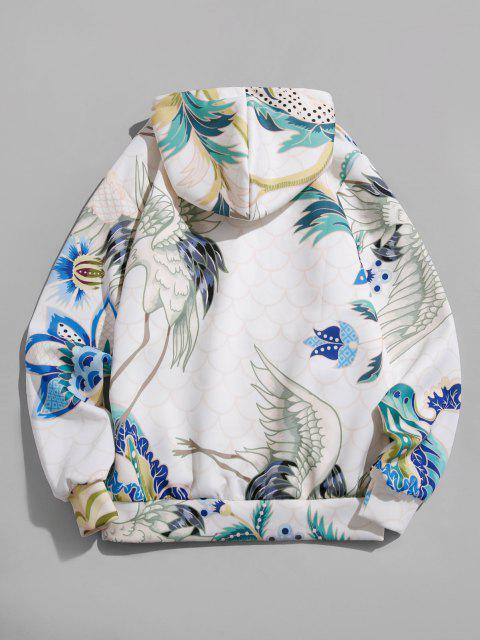 sale Flower Crane Print Kangaroo Pocket Hoodie - WHITE M Mobile