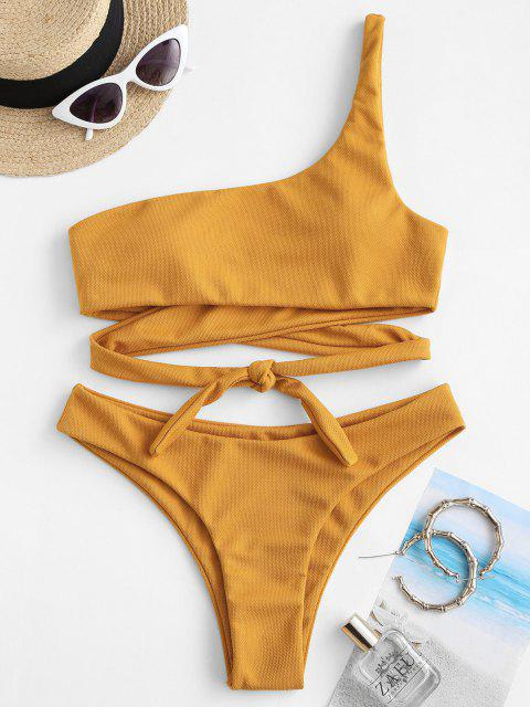 women ZAFUL One Shoulder Wrap-tie Textured Bikini Swimwear - DEEP YELLOW S Mobile