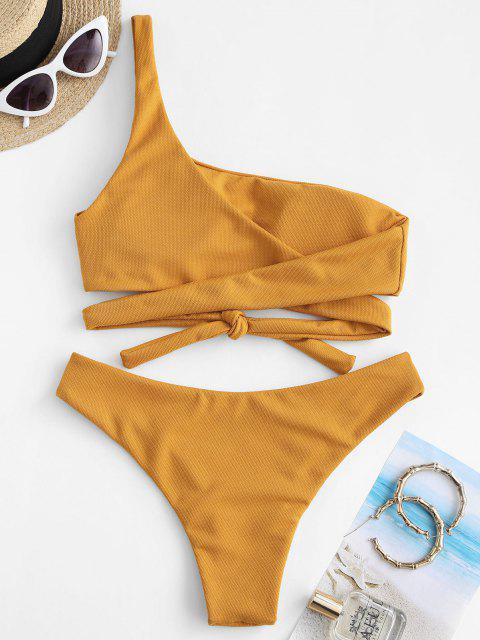 women's ZAFUL One Shoulder Wrap-tie Textured Bikini Swimwear - DEEP YELLOW M Mobile