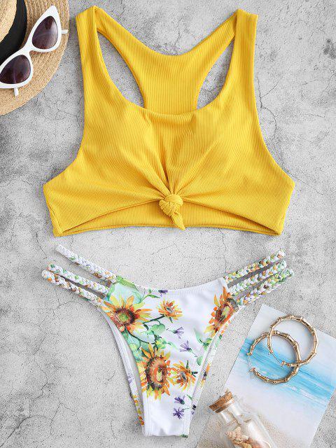 ZAFUL Bikini con Estampado de Girasol Trenzado con Nudo - Amarillo M Mobile