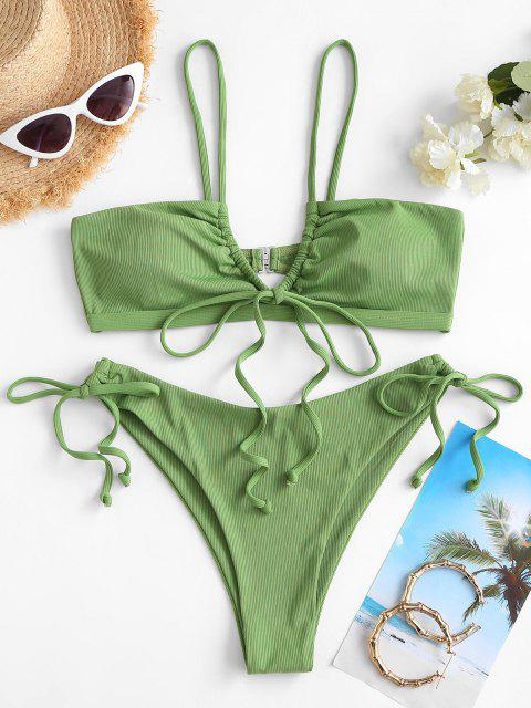Costume da Bagno Bikini a Costine con Coulisse di ZAFUL - Verde M Mobile
