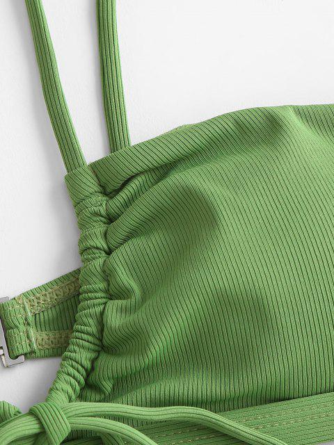 hot ZAFUL Ribbed Drawstring String Bikini Swimwear - GREEN L Mobile