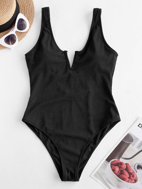 women ZAFUL V-notch Ribbed Low Back One-piece Swimsuit - BLACK XL Mobile