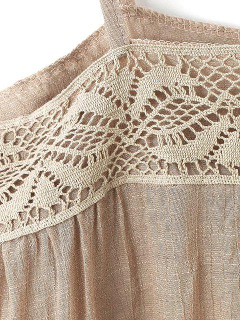lady Tie Lace Panel Cami Tunic Top - LIGHT COFFEE ONE SIZE Mobile