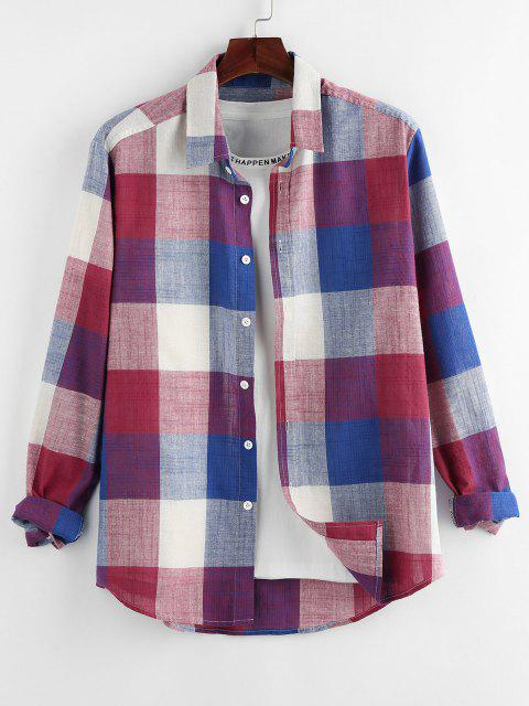 shop ZAFUL Plaid Print Button Up Curved Hem Shirt - RED S Mobile
