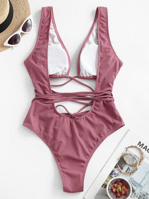 hot ZAFUL Ribbed Cutout Backless One-piece Swimsuit - LIGHT PINK S Mobile