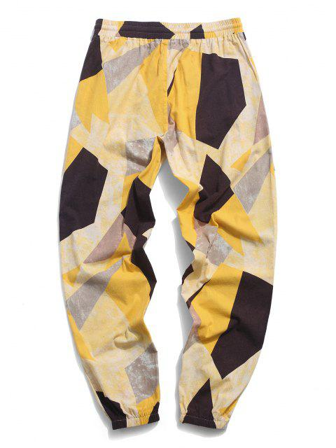 fashion ZAFUL  Contrast Geometric Pattern Beam Feet Pants - YELLOW S Mobile