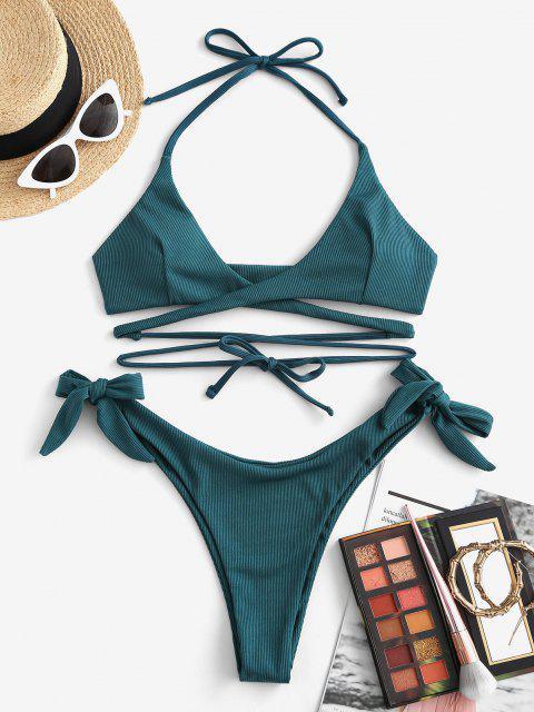 fashion ZAFUL Halter Convertible Ribbed Tie Wrap Bikini Swimwear - DEEP GREEN S Mobile