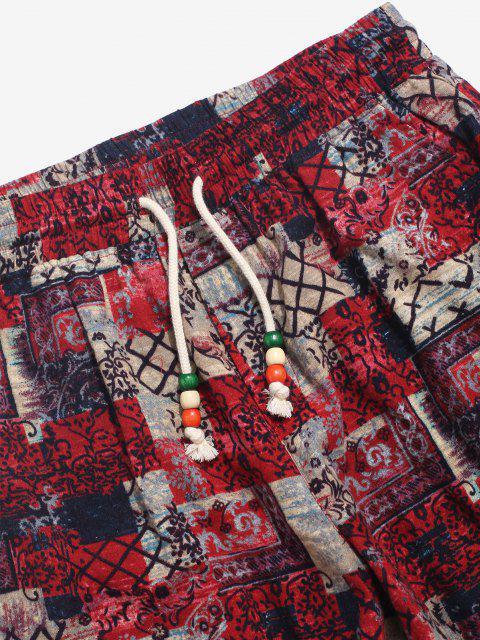 ZAFUL Pantalones de Correr de Patrón Tribal - café L Mobile