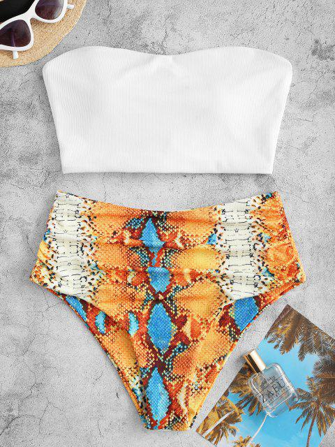 affordable ZAFUL Ribbed Snake Print Lace-up Ruched Tankini Swimwear - WHITE S Mobile