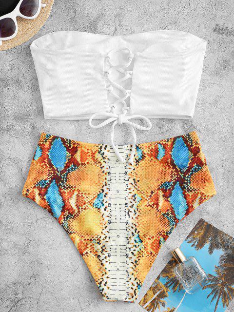 ZAFUL Costume da Bagno Tankini a Costine con Stampa Serpente - Bianca S Mobile