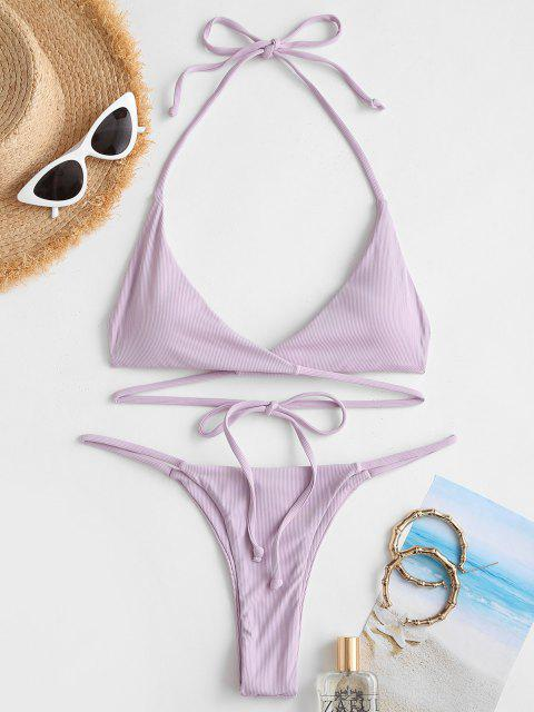 ladies ZAFUL Ribbed Halter Cheeky Wrap Bikini Swimwear - LIGHT PURPLE M Mobile