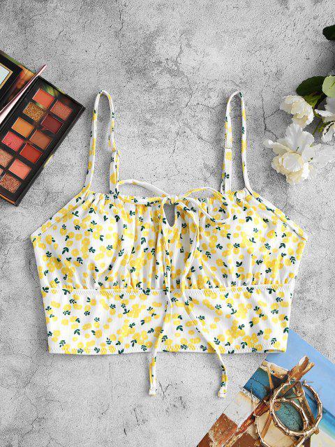 ZAFUL Haut de Bikini Fleuri Noué - Blanc S Mobile