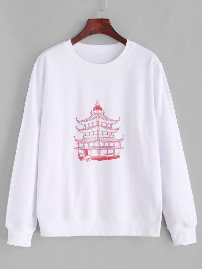 Cotton Temple Graphic Basic Rib Hem Sweatshirt - White S