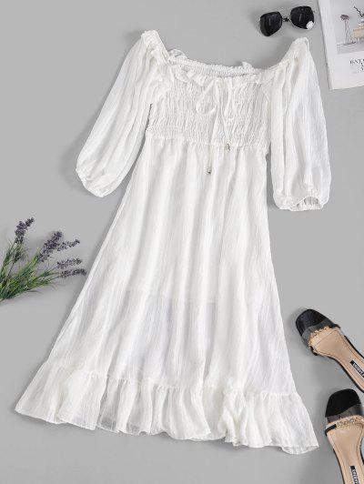 Smocked Bowknot Flounce Hem Midi Dress - White M