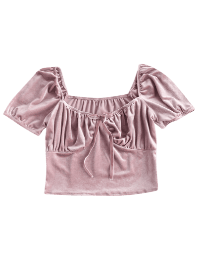 Puff Sleeve Velvet Ruched Milkmaid Top