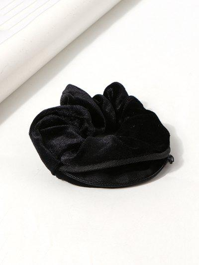 Velour Fabric Zipper Opening Scrunchie - Black