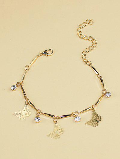 Butterfly Rhinestone Hollow Charm Bracelet - Golden