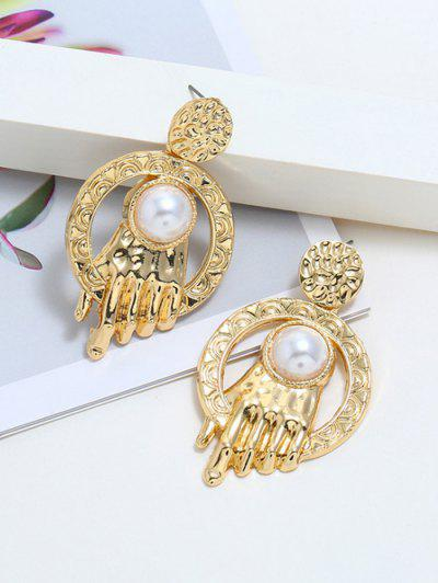 Faux Pearl Carved Hand Shape Earrings - Golden