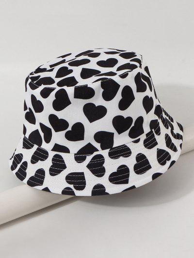 Reversible Heart Printed Bucket Hat - White