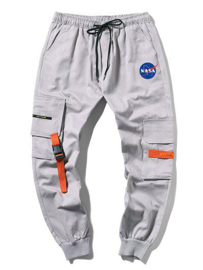 Letter Graphic Buckle Pocket Drawstring Cargo Pants - Gray M