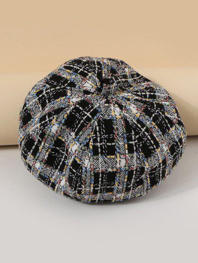 混合色チェック柄ペインターベレー帽子 - 黒