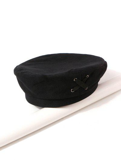 Criss Cross Cloth Beret Hat - Black