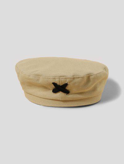Criss Cross Cloth Beret Hat - Beige