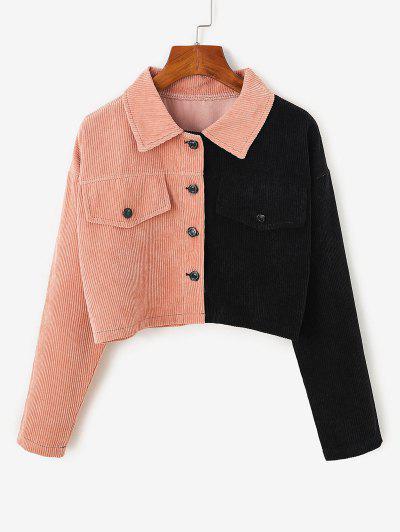 Two Tone Drop Shoulder Corduroy Crop Jacket - Light Pink S
