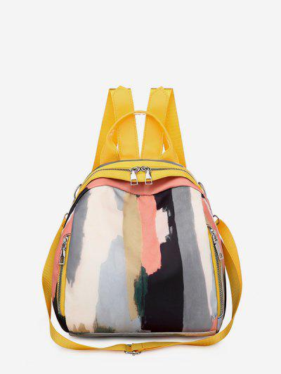 Colorblock Painting Pattern Backpack - Yellow