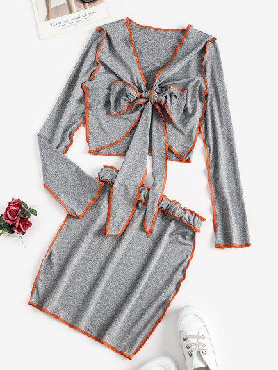 Neon Stitching Tie Front Two Piece Dress - Battleship Gray M