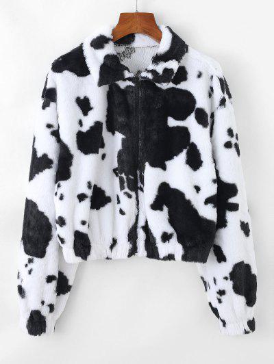 ZAFUL Plush Cow Print Drop Shoulder Zipper Coat - Multi-a M