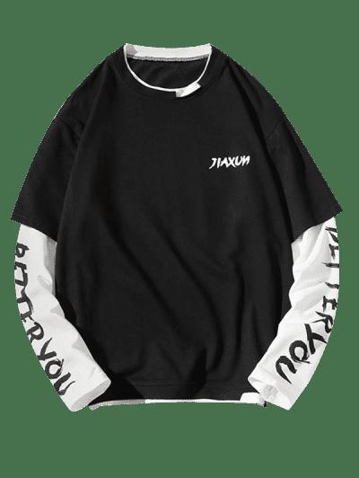 Letter Print Faux Twinset Sweatshirt