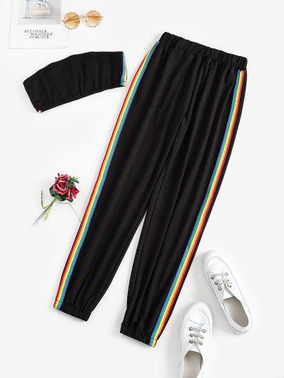 Stripes Rainbow Two Piece Bandeau Top Set - Black M