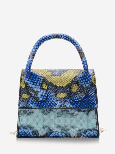 Snakeskin Pattern Mini Square Handbag - Blue