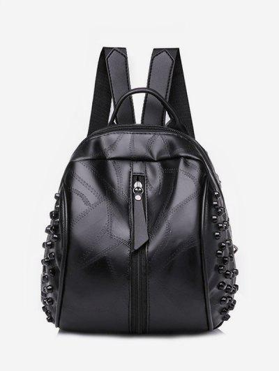 Rivet Quilted Solid PU Backpack - Black