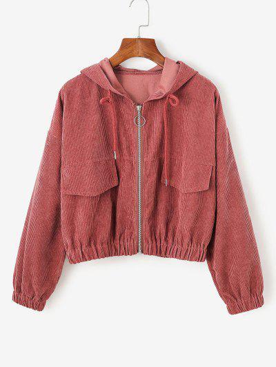 Corduroy Drop Shoulder Hooded Jacket - Red M