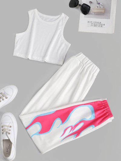 Flame Print Sleeveless Pocket Sport Pants Set - White M