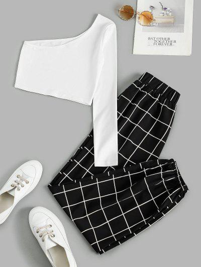 Plaid One Shoulder Two Piece Beam Feet Pants Set, Black