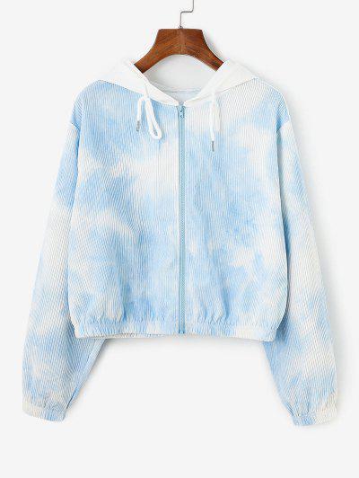 Corduroy Tie Dye Hooded Drop Shoulder Jacket - Light Blue L