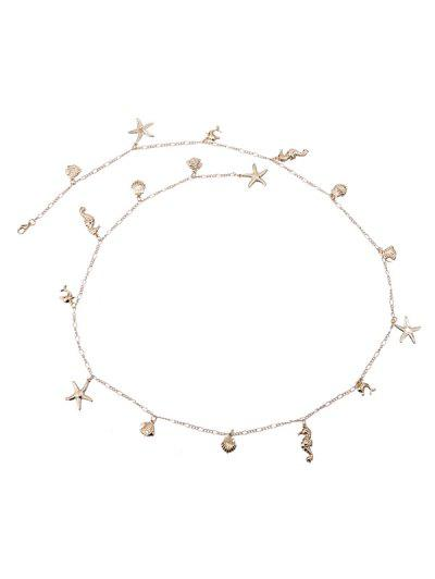 Shells Starfish Shape Pendant Waist Chain - Golden