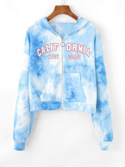 ZAFUL Tie Dye Letter Drop Shoulder Zipper Hoodie - Light Blue S