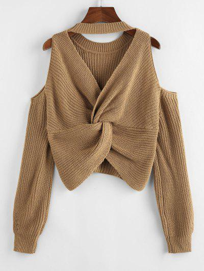 ZAFUL Choker Twisted Cold Shoulder Jumper Sweater - Light Coffee M