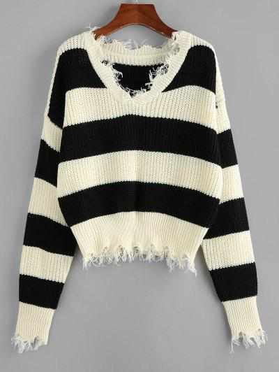 ZAFUL Frayed Drop Shoulder Wide Stripes Sweater - Multi L