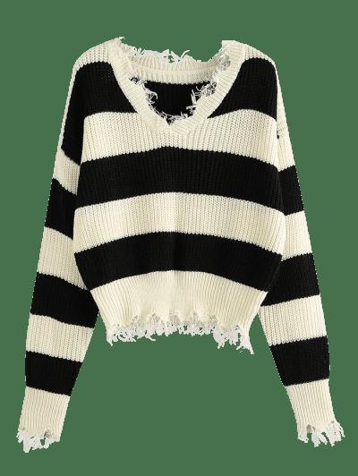 ZAFUL Frayed Drop Shoulder Wide Stripes Sweater