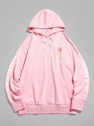 Rose Flower On Hand Pattern Kangaroo Pocket Hoodie - Light Pink 2xl