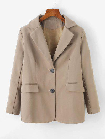 Button Up Shoulder Pads Pockets Blazer - Khaki M